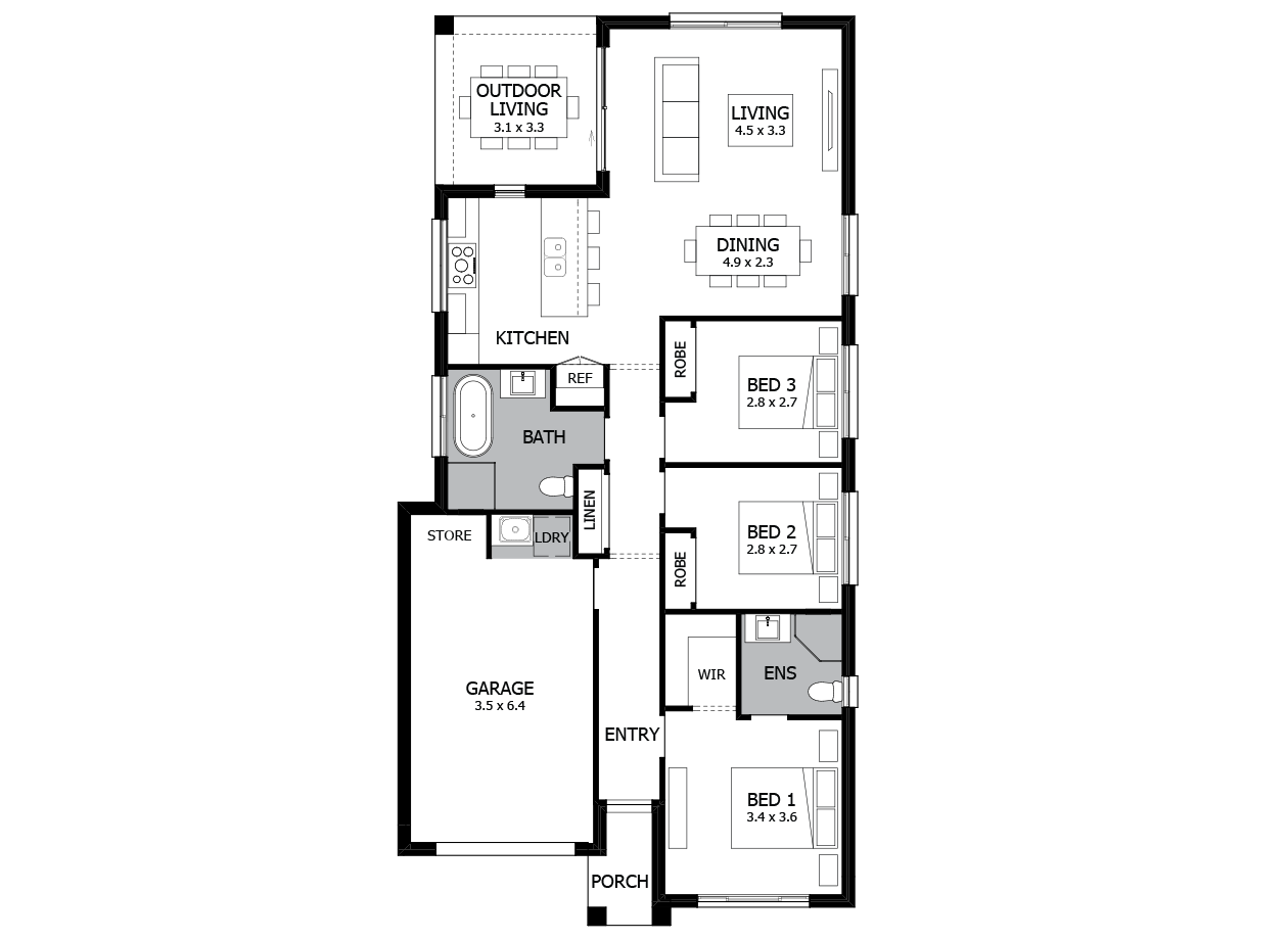 Can Can Narrow Block House Design With 3 Bedrooms Mojo Homes