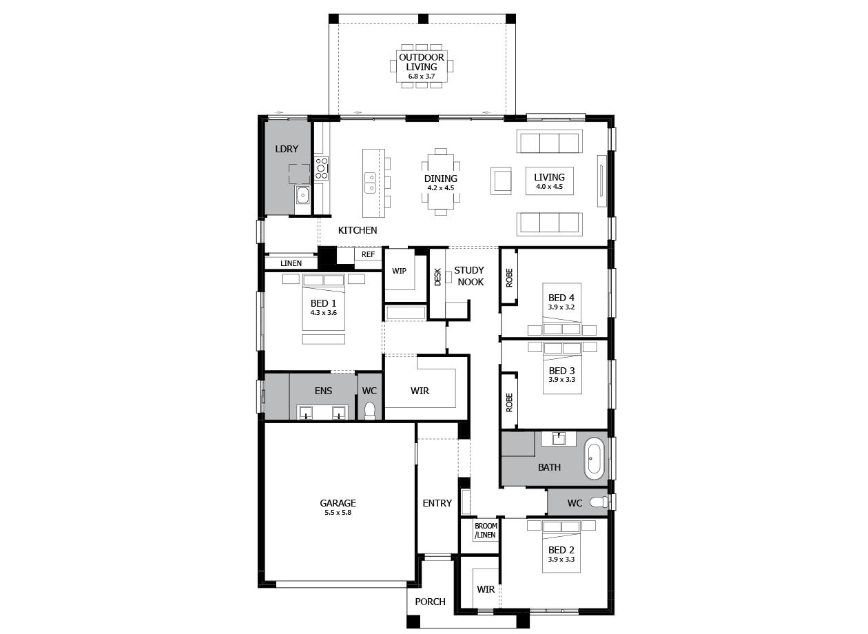 Atrium 28-Single Storey house design-4 Bedroom-LHS