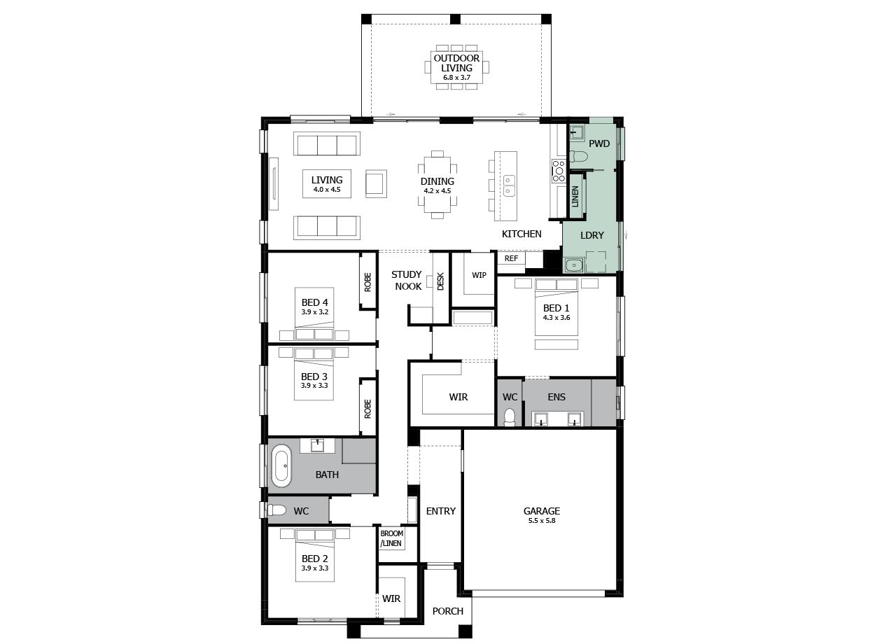 Atrium 28-Single Storey house design-Additional PWD & Laundry