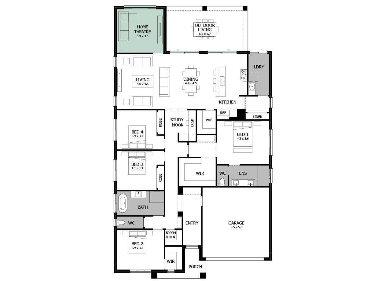 Atrium 28-Single Storey house design-Home Theatre to Rear