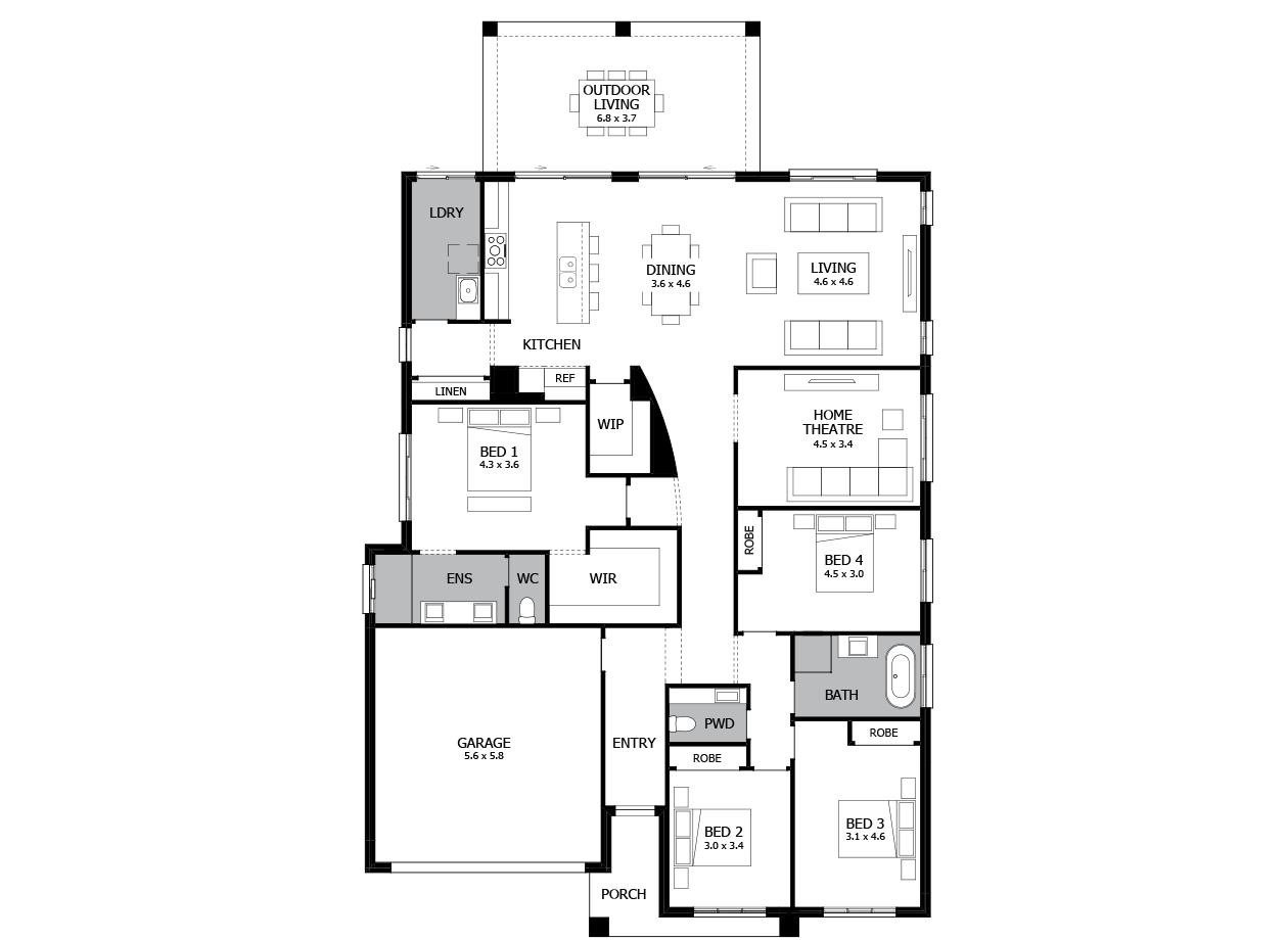 Atrium 29-Single Storey house design-4 Bedroom-LHS