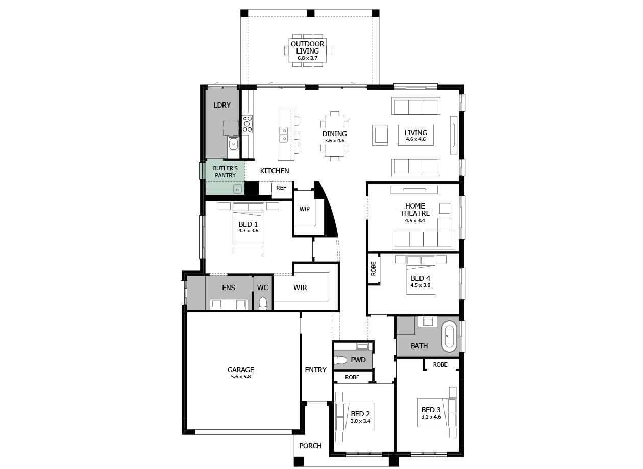Atrium 29-Single storey house design-Option 1-Butler's Pantry
