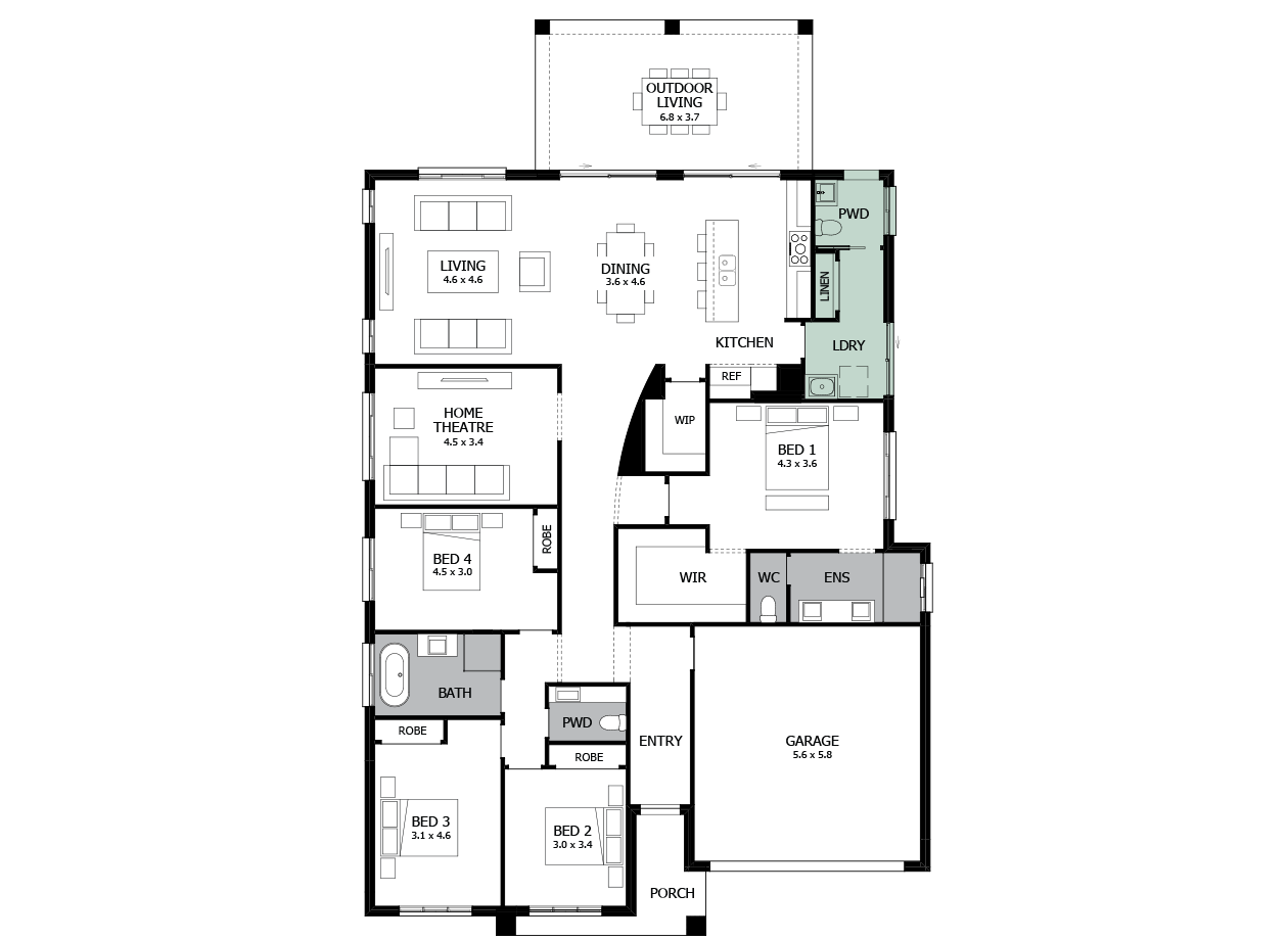 Atrium 29-Single storey house design-Option 3-Additional PWD