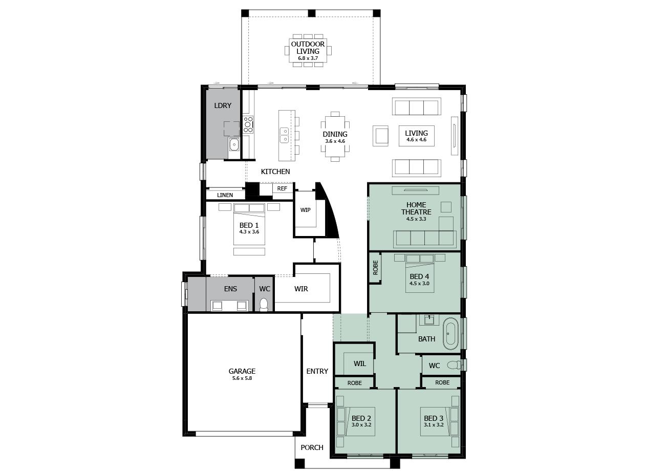 Atrium 29-Single storey house design-Option 4-WC to Exterior & WIL