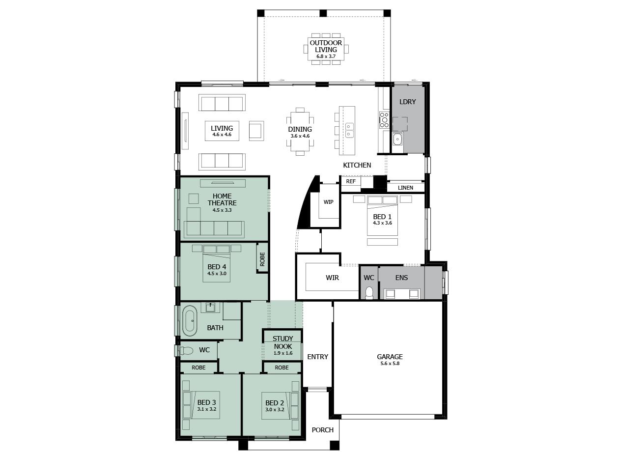 Atrium 29-Single storey house design-Option 5-Study & WC to Exterior