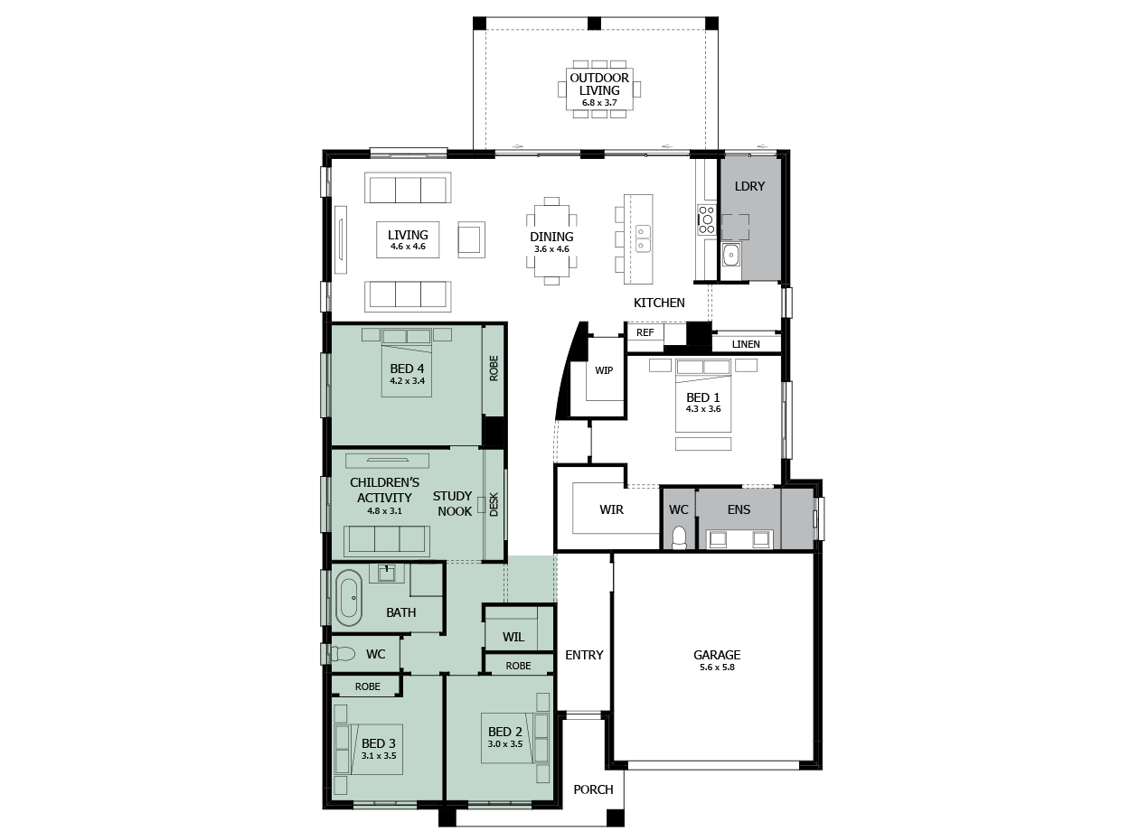 Atrium 29-Single storey house design-Option 6-Children's Activity & WC to Exterior