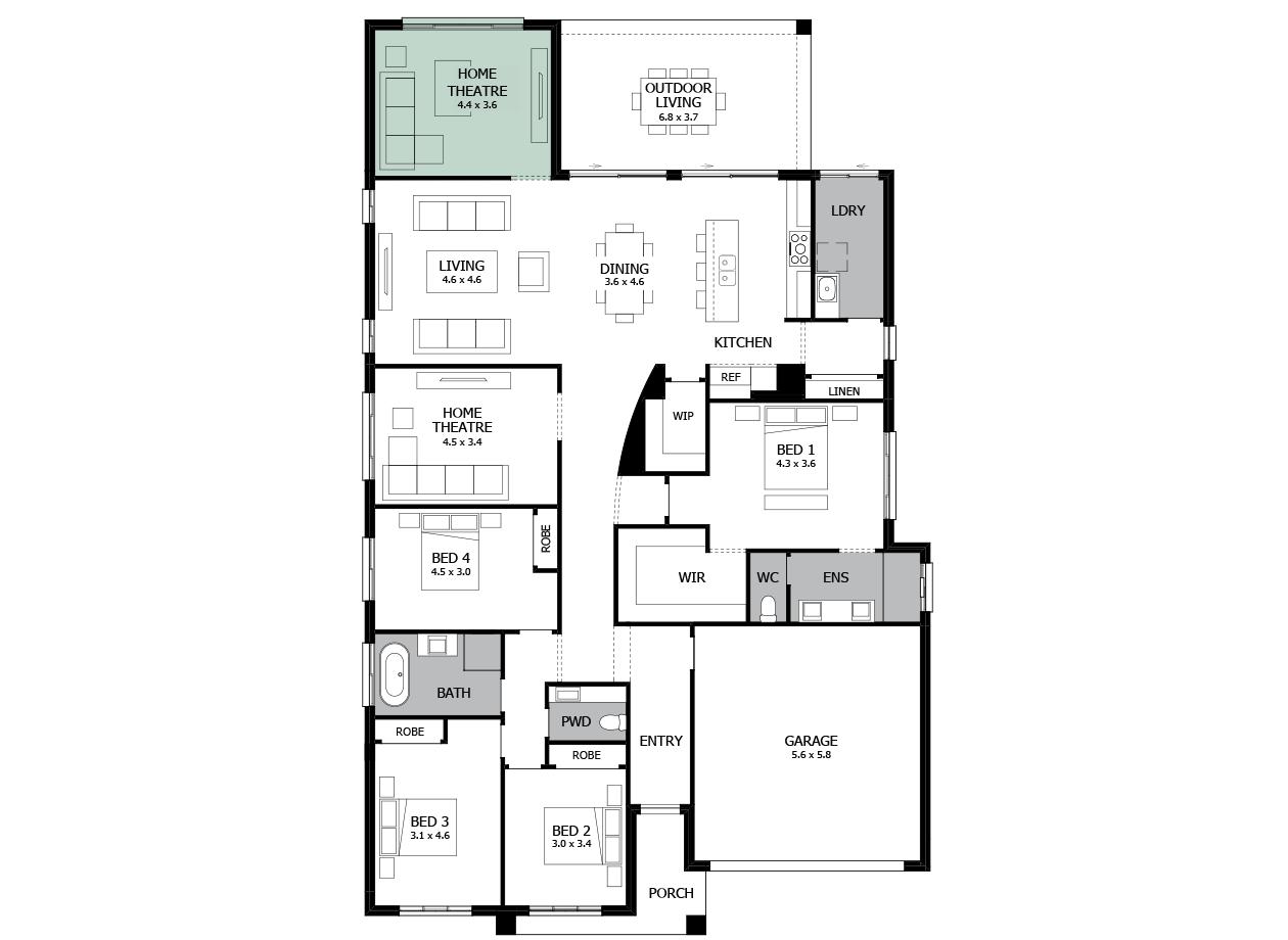 Atrium 29-Single storey house design-Option 7a-Home Theatre to Rear