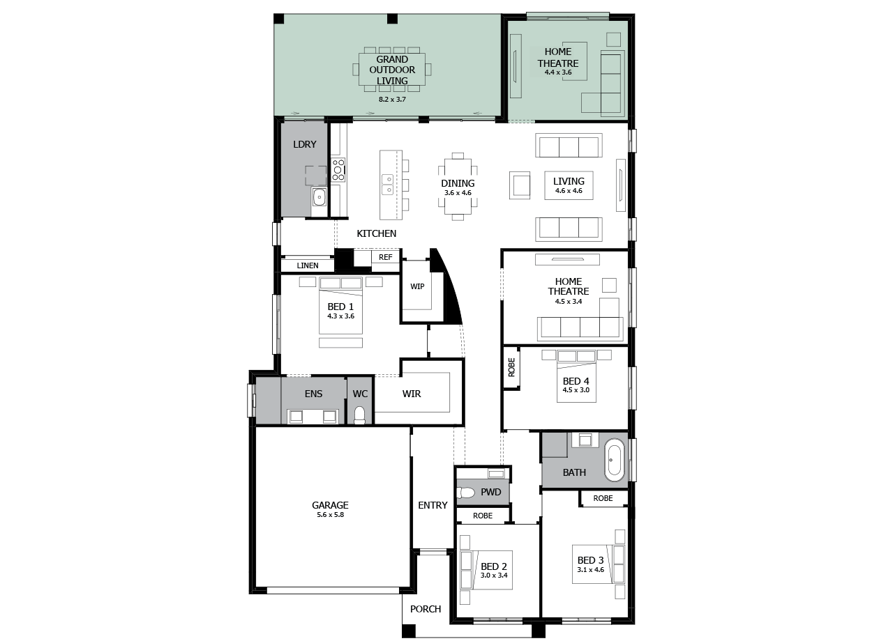 Atrium 29-Single storey house design-Option 7b-Home Theatre to Rear & Grand Outdoor Living