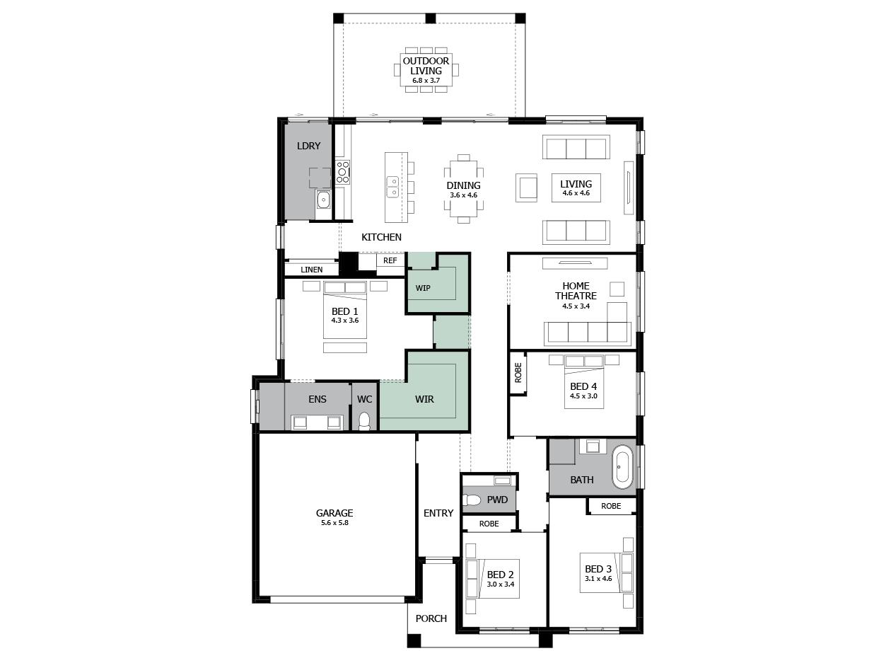 Atrium 29-Single storey house design-Option 8-Straight Hallway