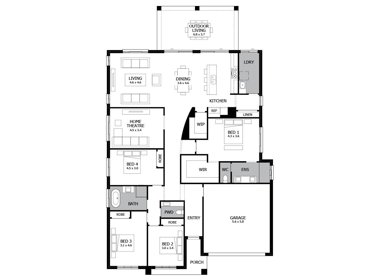 Atrium 29-Single Storey house design-4 Bedroom-RHS