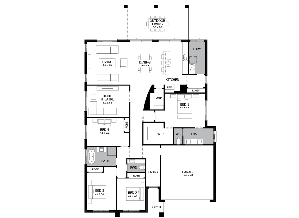 Atrium 29-Single storey house design