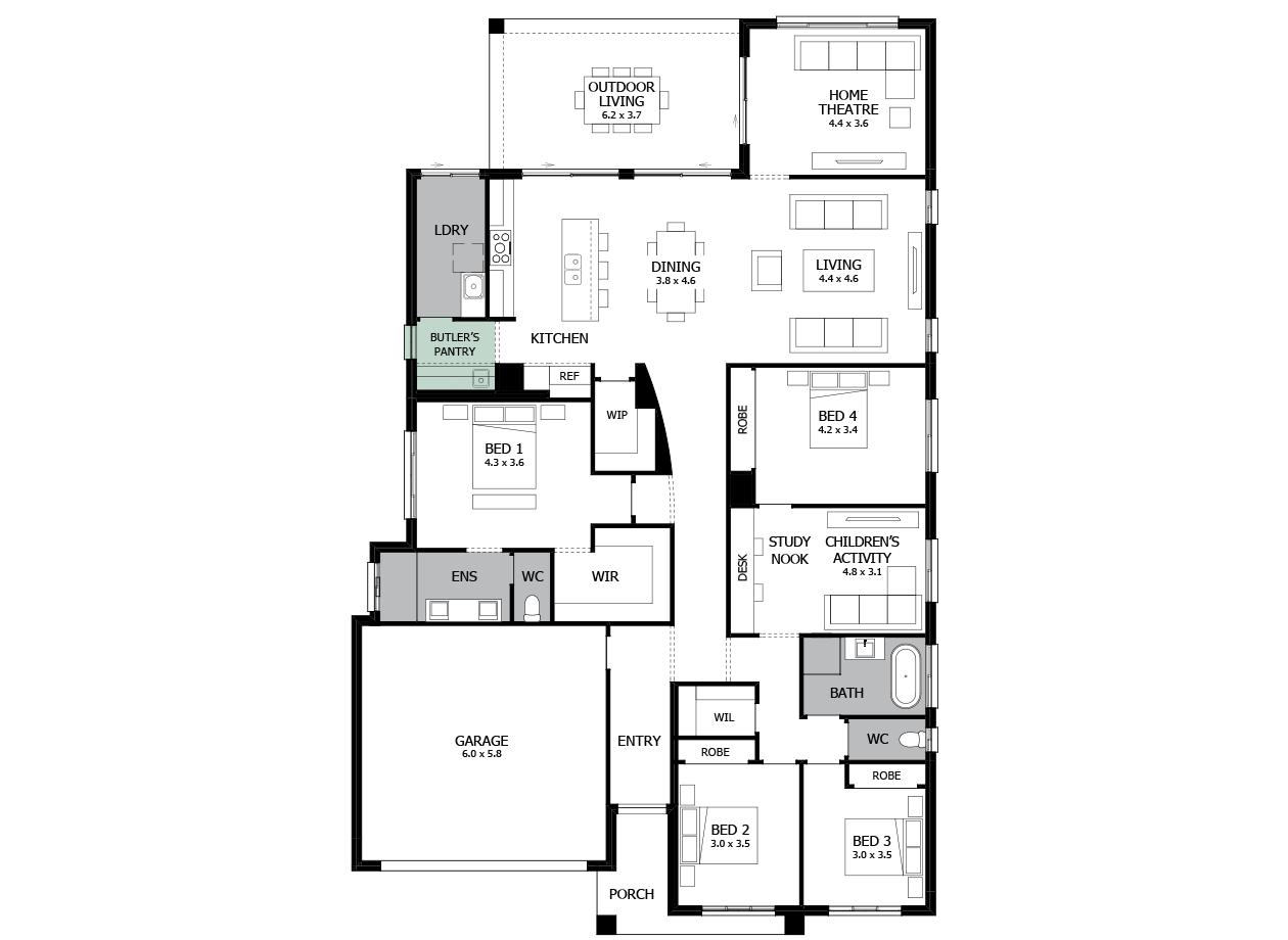 Atrium 31-Single storey house design-Option 1