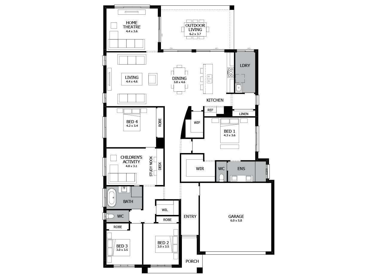 Atrium 31-Single storey house design