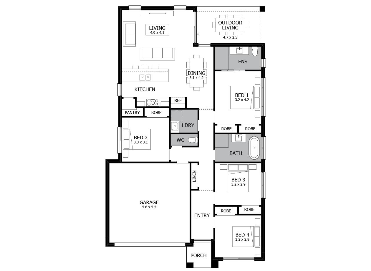 Avalon 19-Single Storey house design-4 Bedroom-LHS