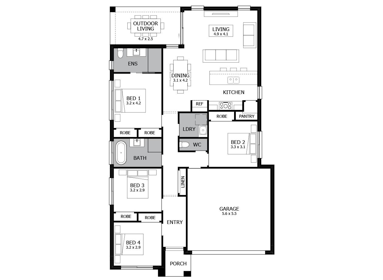 Avalon 19-Single Storey house design-4 Bedroom-RHS