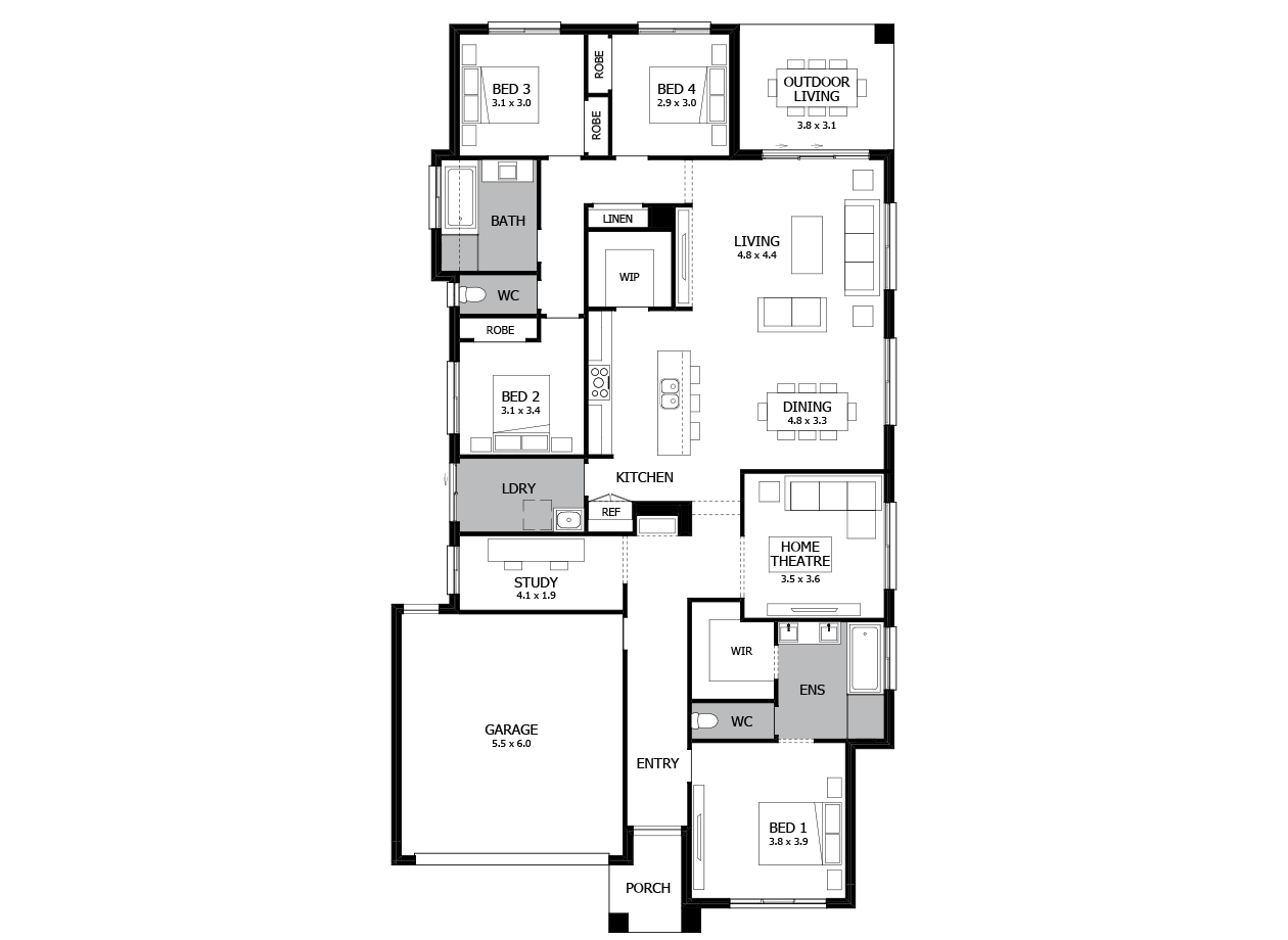 Bohemia 26-Single Storey house design-4 Bedroom-LHS