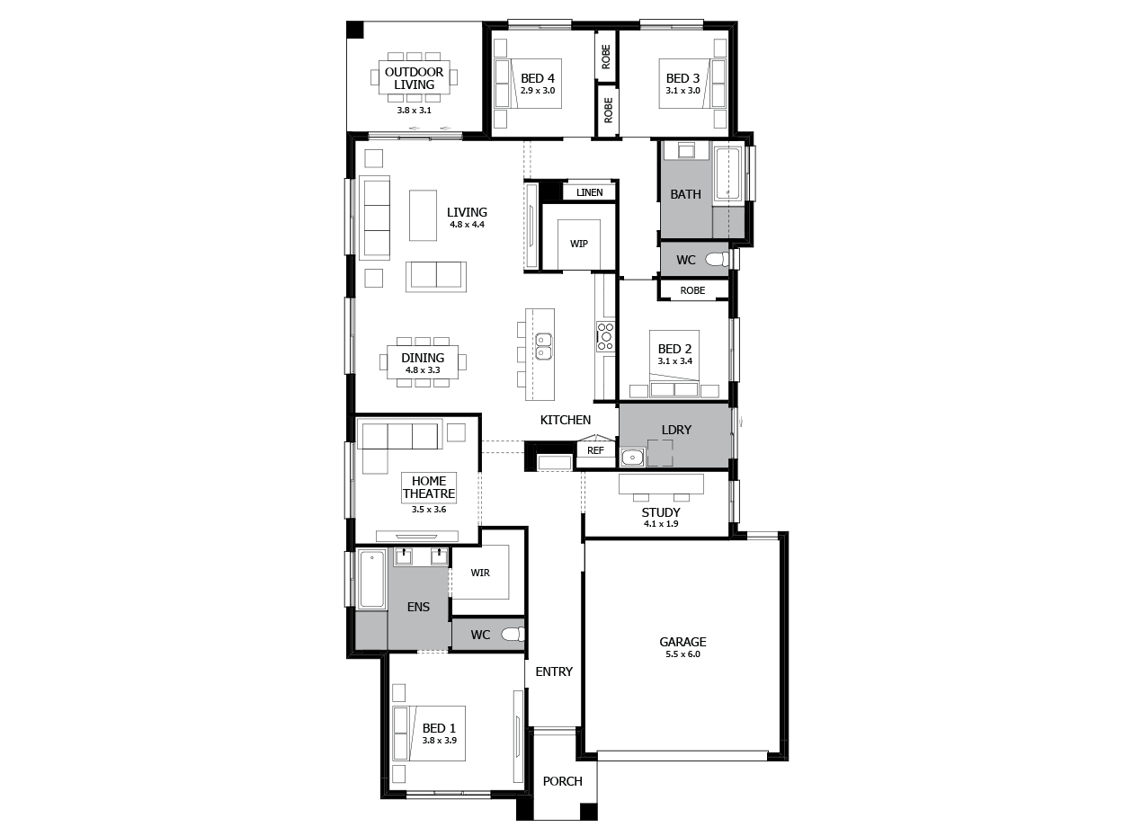 Bohemia 26-Single Storey house design-4 Bedroom-RHS
