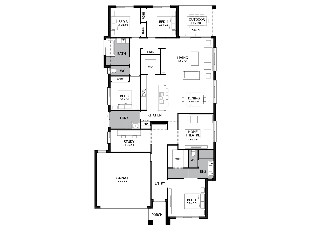 Bohemia 27-Single Storey house design-4 Bedroom-LHS