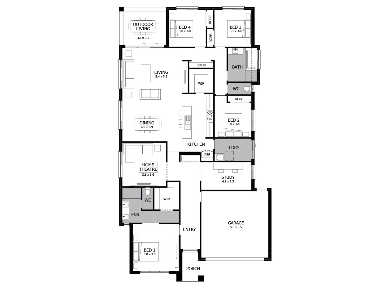 Bohemia 27-Single Storey house design-4 Bedroom-RHS