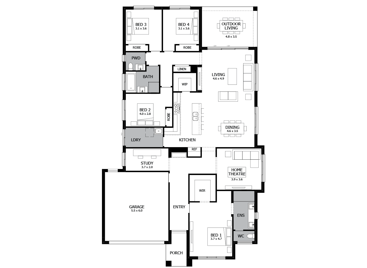 Bohemia 28-Single Storey house design-4 Bedroom-LHS