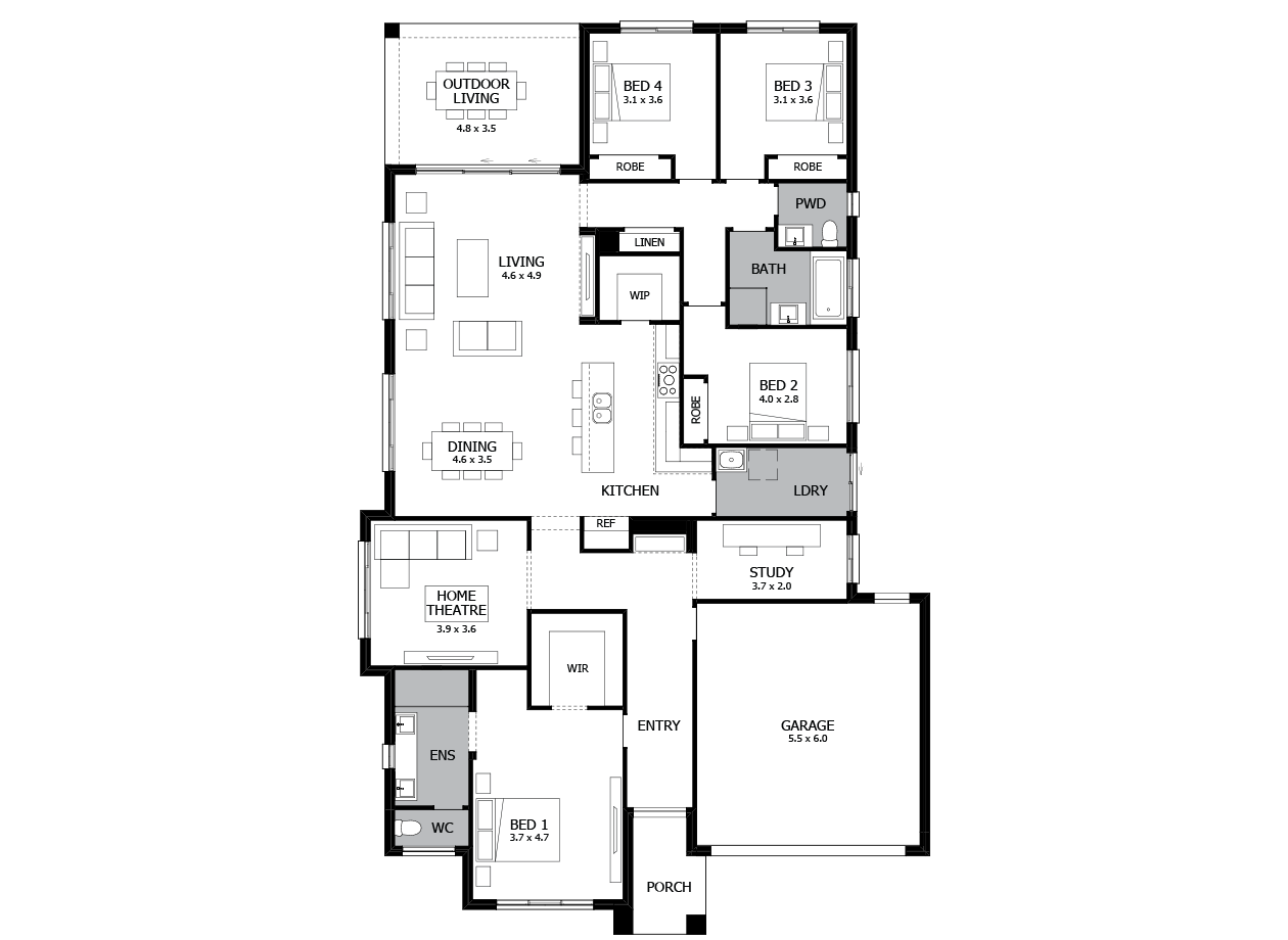 Bohemia 28-Single Storey house design-4 Bedroom-RHS
