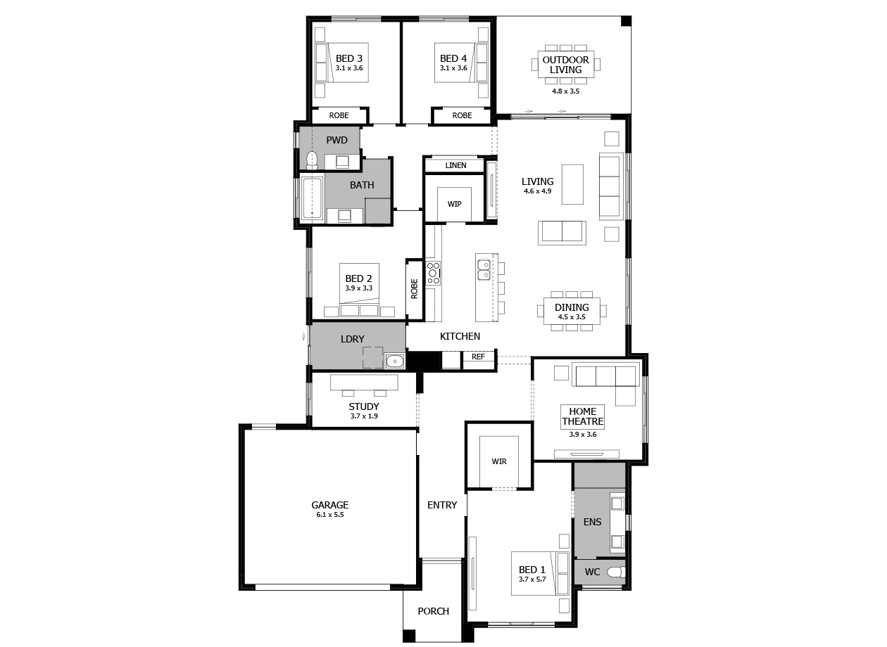 Bohemia 29-Single Storey house design-4 Bedroom-LHS
