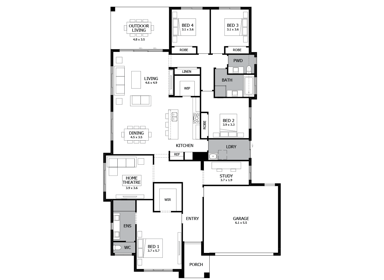 Bohemia 29-Single Storey house design-4 Bedroom-RHS
