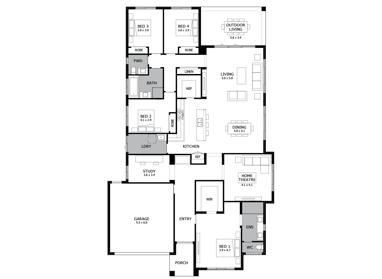 Bohemia 31-Single Storey house design-4 Bedroom-LHS