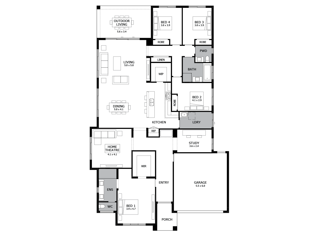 Bohemia 31-Single Storey house design-4 Bedroom-RHS