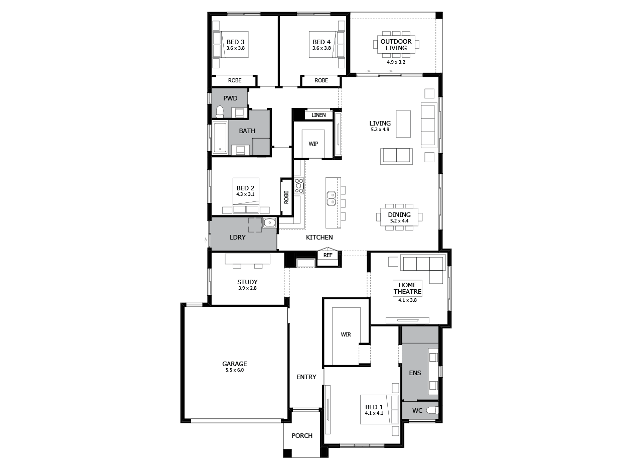 Bohemia 32-Single Storey house design-4 Bedroom-LHS
