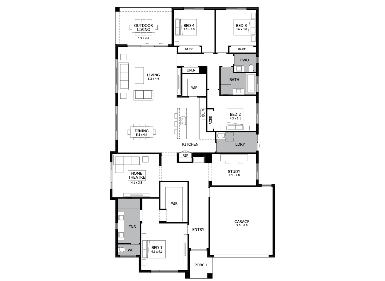 Bohemia 32-Single Storey house design-4 Bedroom-RHS