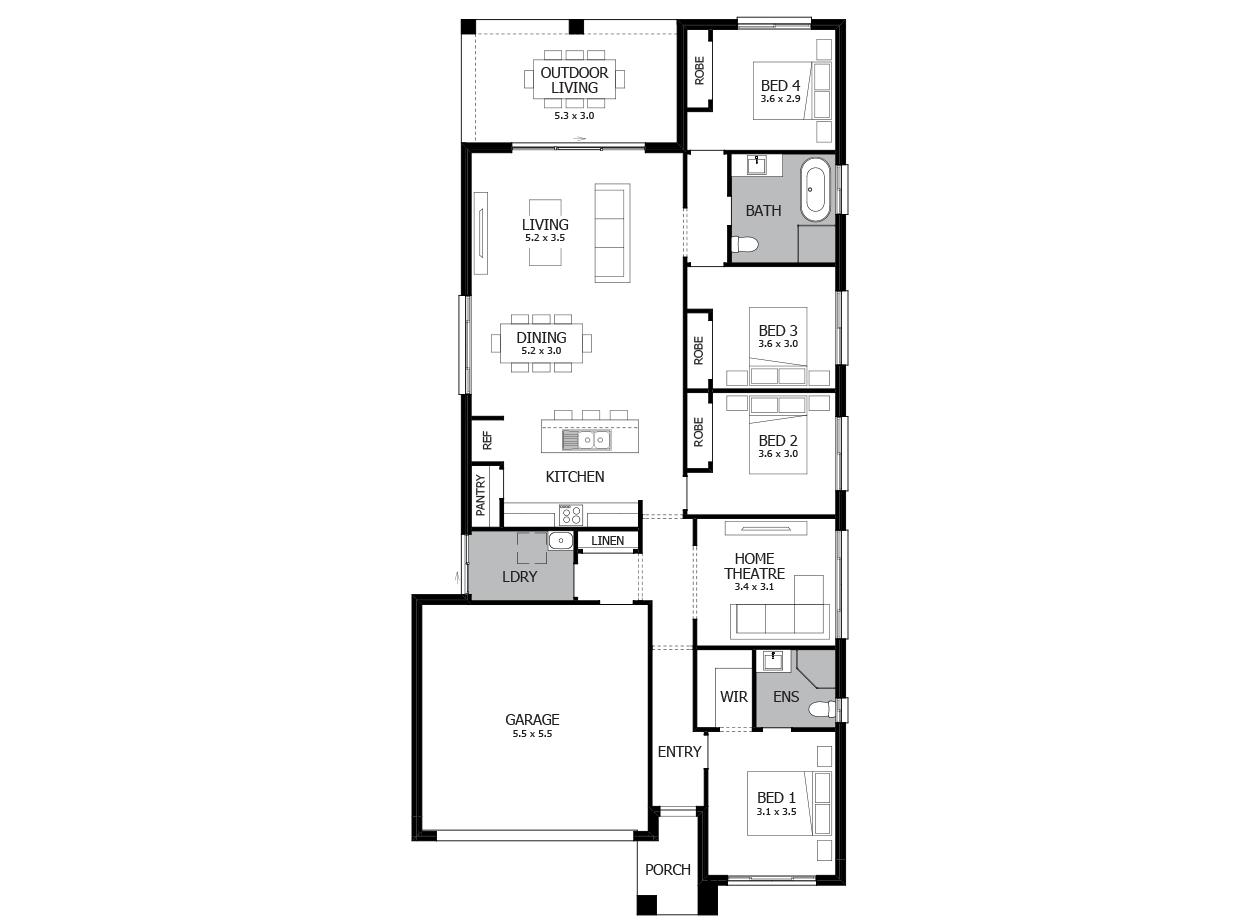 Bolero 22-Single Storey house design-4 Bedroom-LHS