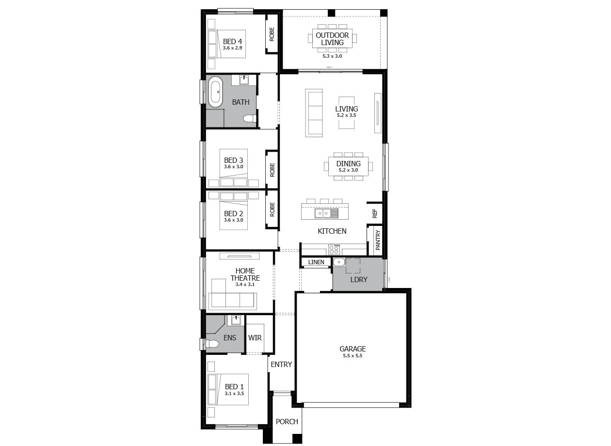 Bolero 22-Single Storey house design-4 Bedroom-RHS