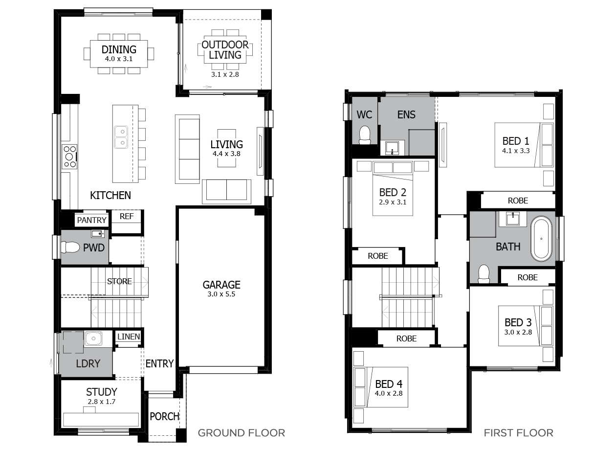 Bondi 20-Double Storey House Design-4 Bedroom