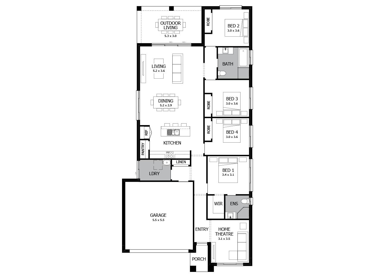 Boston 22-Single Storey house design-4 Bedroom-LHS
