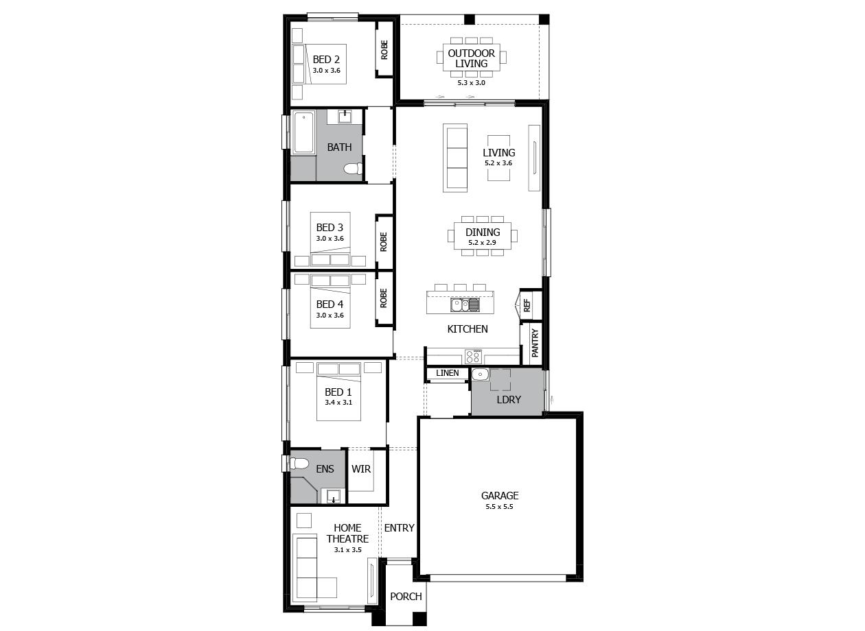 Boston 22-Single Storey house design-4 Bedroom-RHS