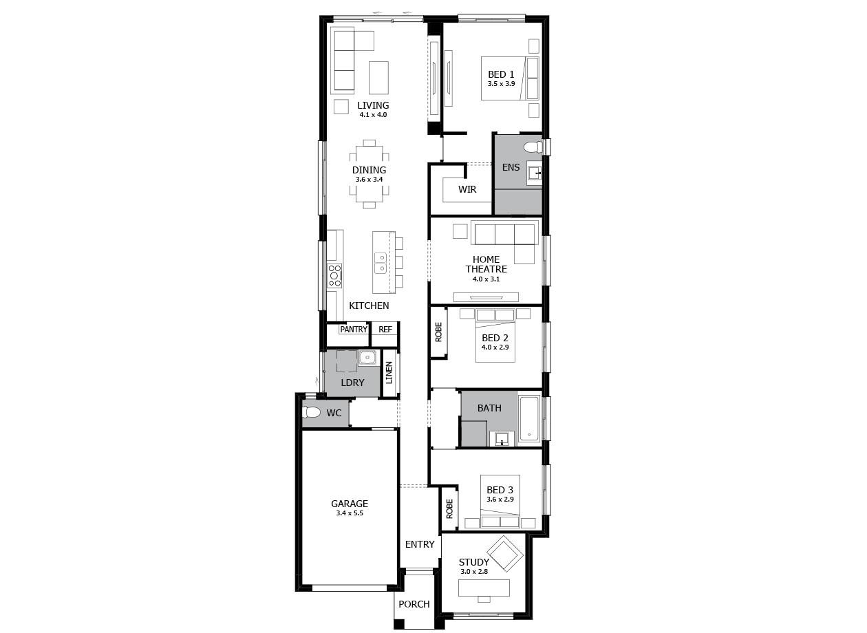 Broadway 19-Single storey house plan