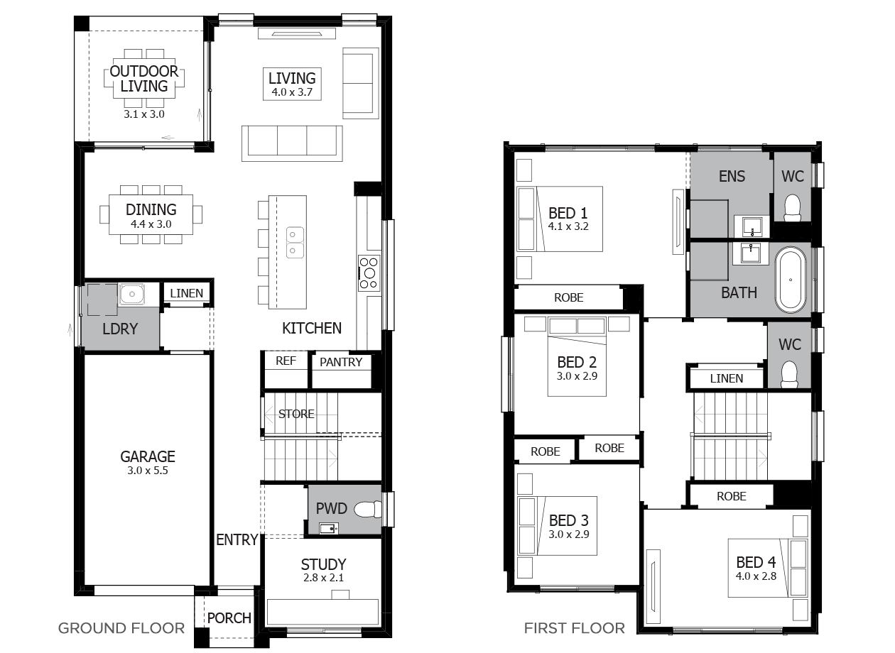 Bronte 21-Double Storey House Design-4 Bedroo