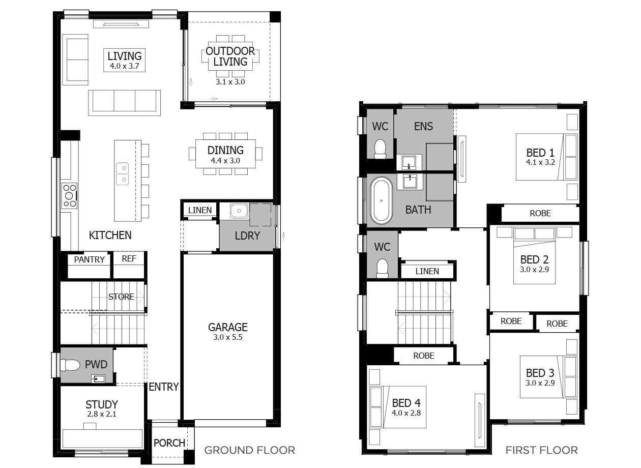 Bronte 21-Double Storey House Design-4 Bedroom