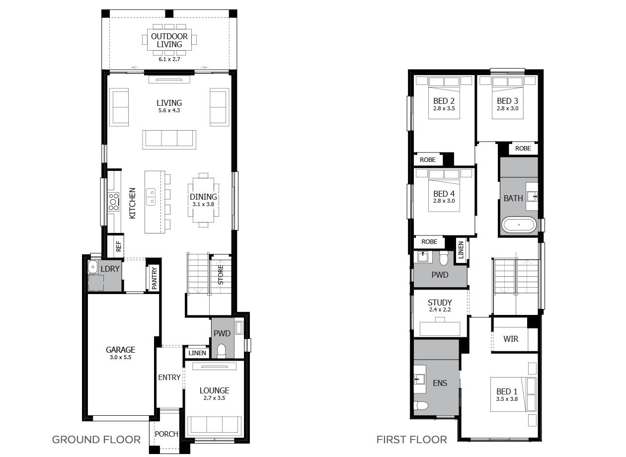 Bundeena 24-Double Storey House Design-4 Bedroom