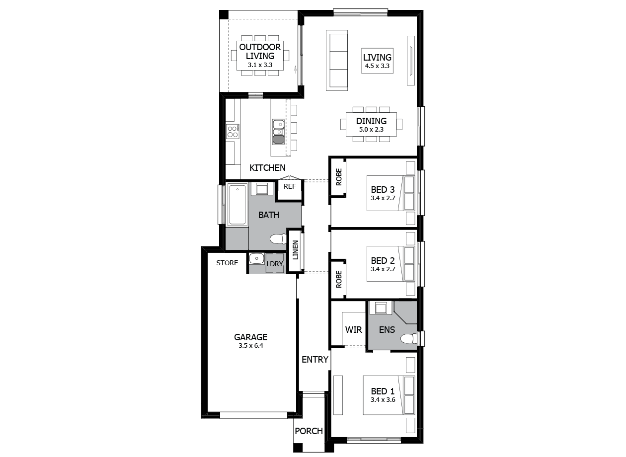 Can Can 15-Single Storey house design-3 Bedroom-LHS