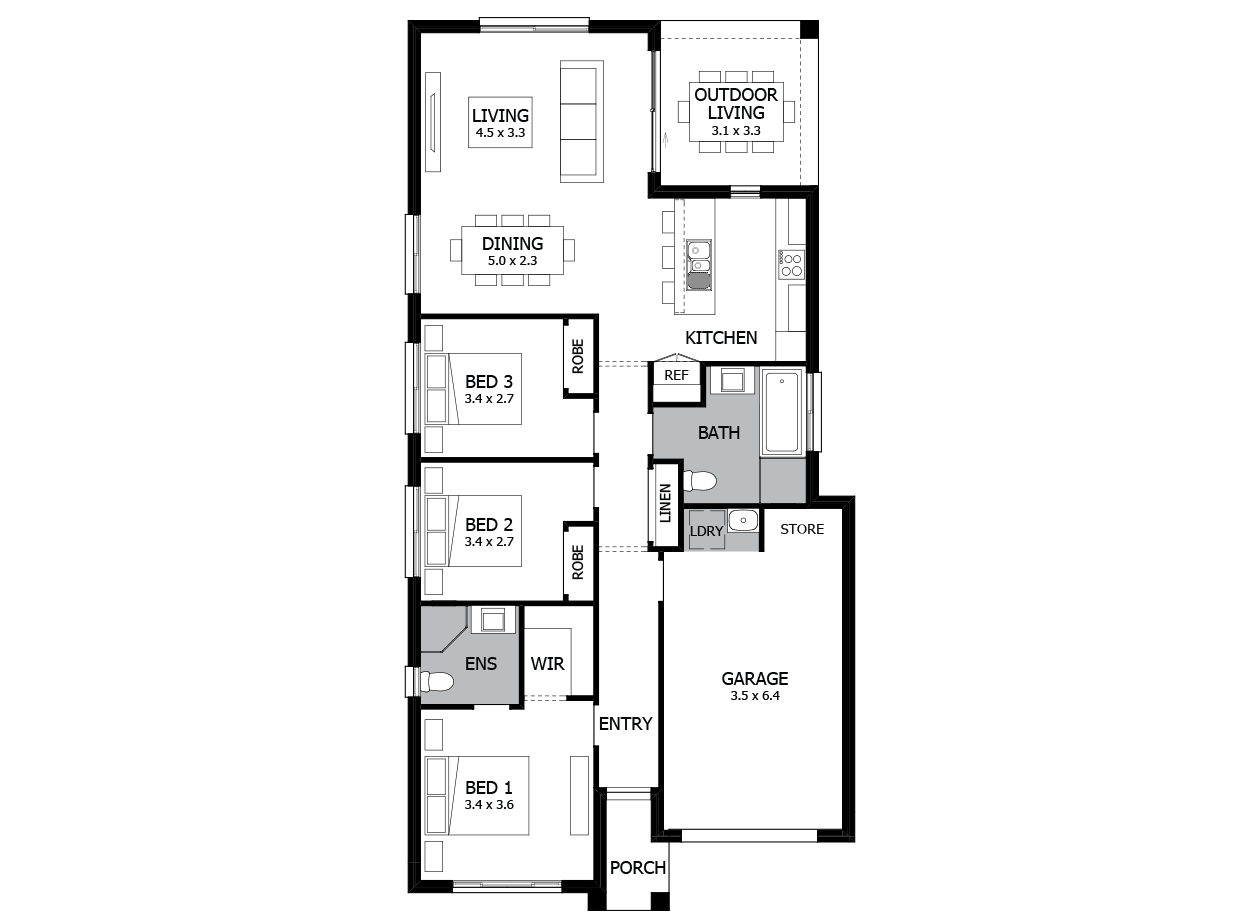Can Can 15-Single Storey house design-3 Bedroom-RHS