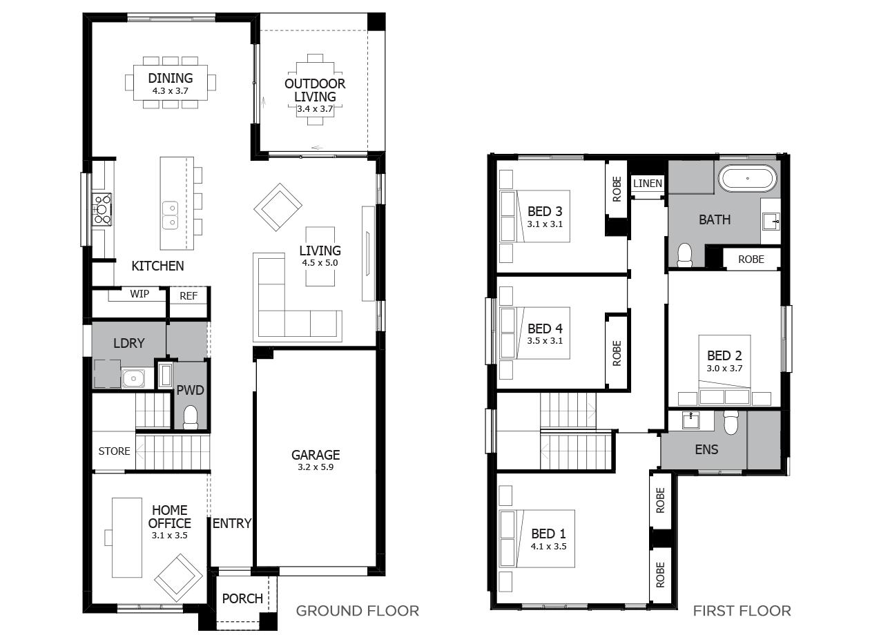 Charleston 24-Double Storey House Design-4 Bedroom
