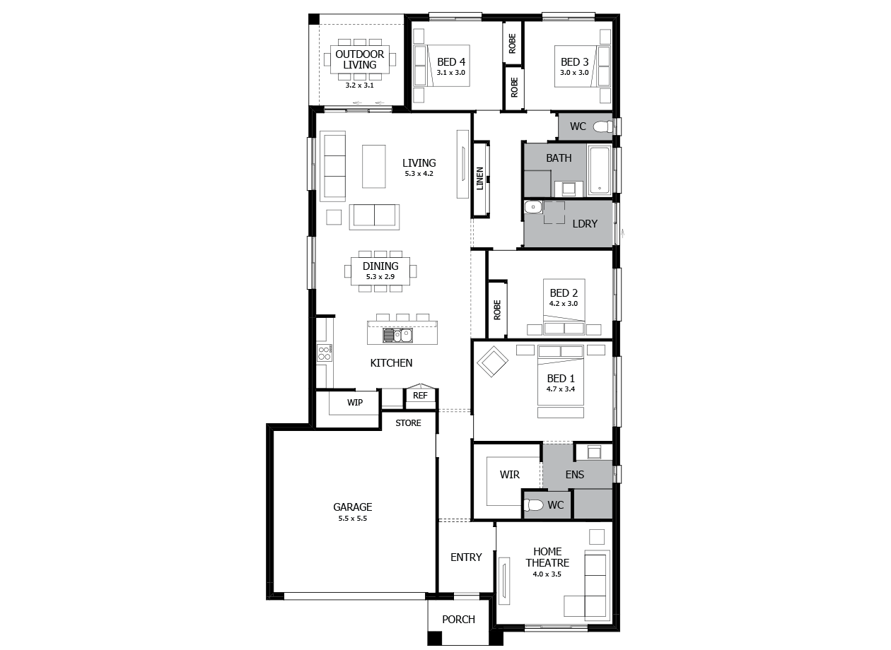 Conga 24-Single Storey house design-4 Bedroom-LHS