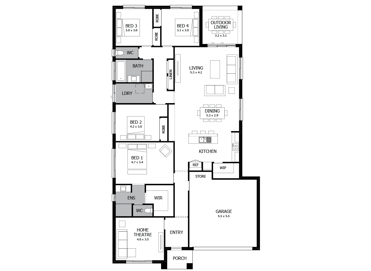 Conga 24-Single Storey house design-4 Bedroom-RHS