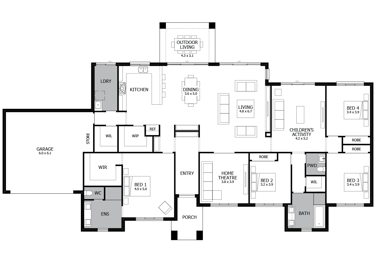 Dalton 34-Acreage House Design-4 bedroom