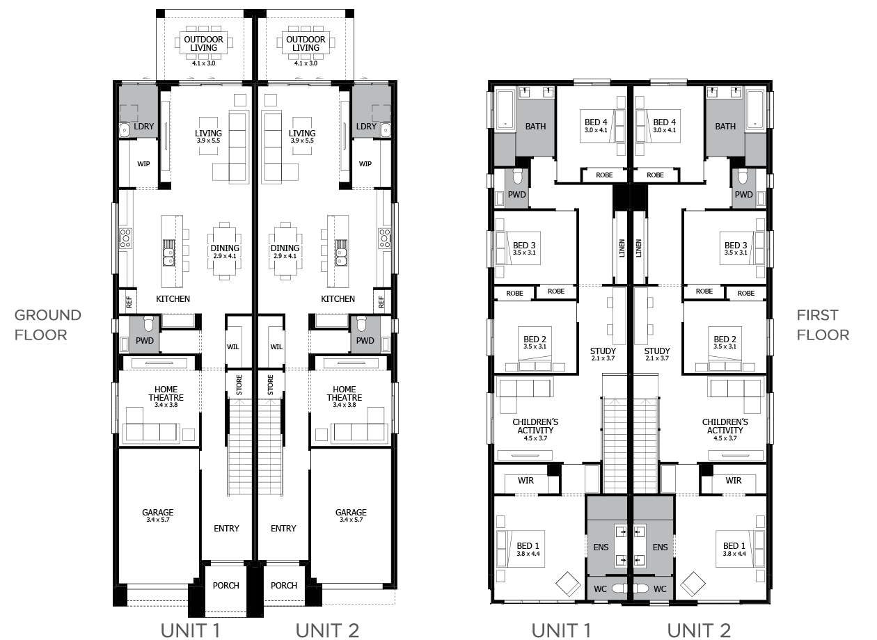 Essex 1-Duplex house plan