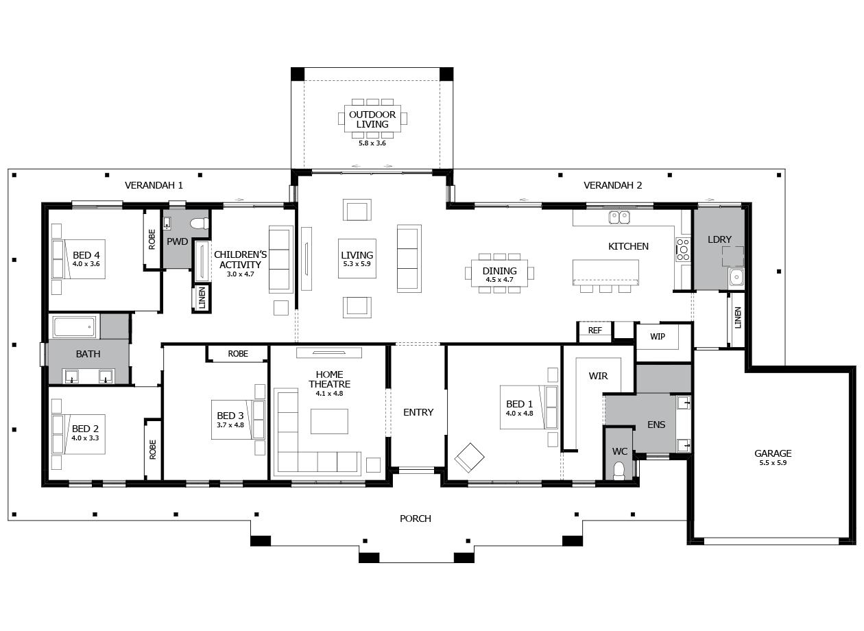 Falls Creek 43-Acreage House Design-4 bedroom