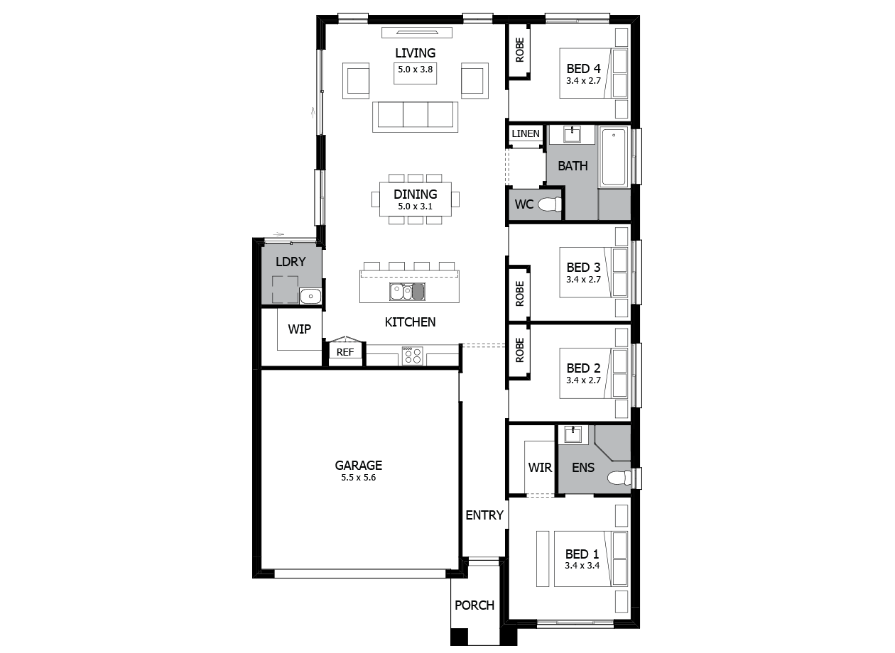 Hula 18-Single Storey house design-4 Bedroom-LHS