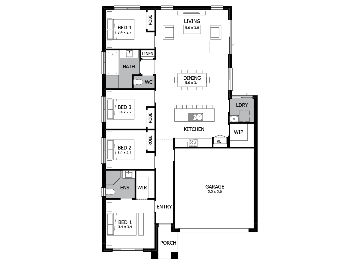 Hula 18-Single Storey house design-4 Bedroom-RHS